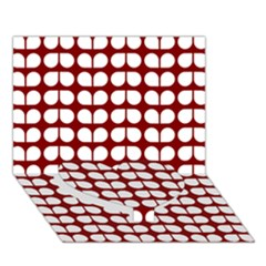 Red And White Leaf Pattern Heart Bottom 3d Greeting Card (7x5)  by creativemom