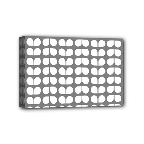 Gray And White Leaf Pattern Mini Canvas 6  X 4  by creativemom