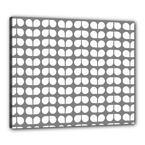 Gray And White Leaf Pattern Canvas 24  X 20  by creativemom