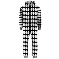 Black And White Leaf Pattern Hooded Jumpsuit (men)  by creativemom
