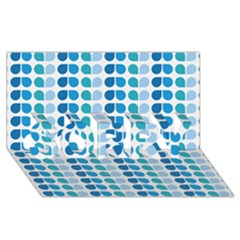 Blue Green Leaf Pattern Sorry 3d Greeting Card (8x4)  by creativemom