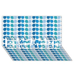 Blue Green Leaf Pattern Engaged 3d Greeting Card (8x4)