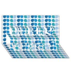 Blue Green Leaf Pattern Merry Xmas 3D Greeting Card (8x4)  by creativemom