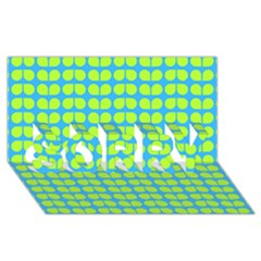Blue Lime Leaf Pattern Sorry 3d Greeting Card (8x4)  by creativemom