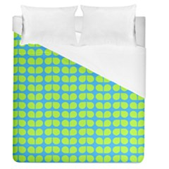 Blue Lime Leaf Pattern Duvet Cover Single Side (full/queen Size) by creativemom
