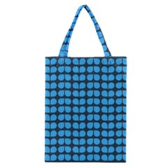 Blue Gray Leaf Pattern Classic Tote Bags