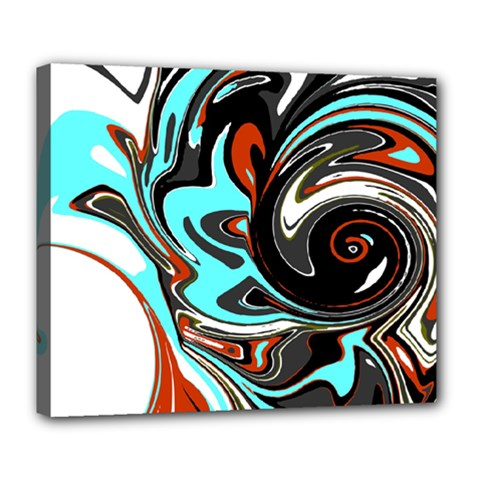 Abstract In Aqua, Orange, And Black Deluxe Canvas 24  X 20   by theunrulyartist