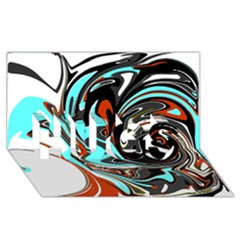Abstract In Aqua, Orange, And Black Hugs 3d Greeting Card (8x4)  by theunrulyartist