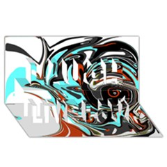 Abstract In Aqua, Orange, And Black Laugh Live Love 3d Greeting Card (8x4)  by theunrulyartist