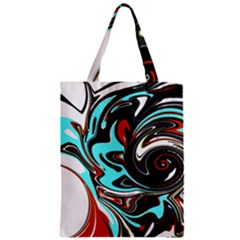 Abstract In Aqua, Orange, And Black Classic Tote Bags