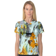 Abstract Country Garden Women s V-Neck Sport Mesh Tee by theunrulyartist