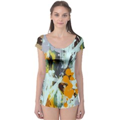 Abstract Country Garden Short Sleeve Leotard