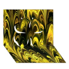 Fractal Marbled 15 Clover 3d Greeting Card (7x5)  by ImpressiveMoments