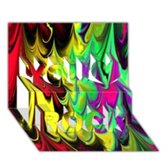 Fractal Marbled 14 You Rock 3D Greeting Card (7x5)  by ImpressiveMoments