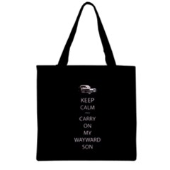 Carry On Centered Grocery Tote Bags by TheFandomWard