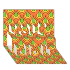 70s Green Orange Pattern You Did It 3d Greeting Card (7x5)