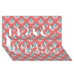 70s Peach Aqua Pattern Best Wish 3D Greeting Card (8x4)