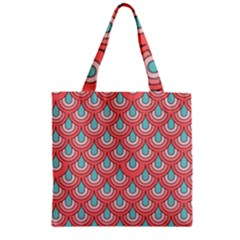 70s Peach Aqua Pattern Zipper Grocery Tote Bags by ImpressiveMoments