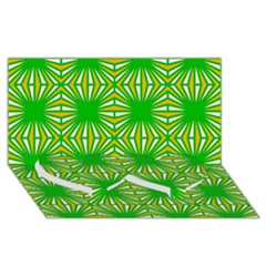 Retro Green Pattern Twin Heart Bottom 3d Greeting Card (8x4)  by ImpressiveMoments