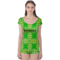 Retro Green Pattern Short Sleeve Leotard by ImpressiveMoments