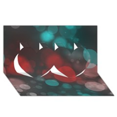 Modern Bokeh 15b Twin Hearts 3d Greeting Card (8x4)