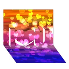 Lovely Hearts, Bokeh I Love You 3D Greeting Card (7x5)