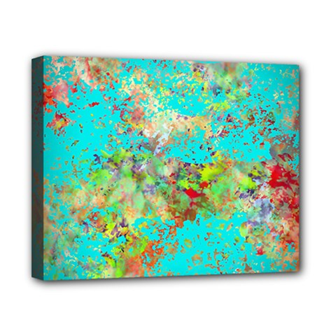 Abstract Garden In Aqua Canvas 10  X 8  by theunrulyartist