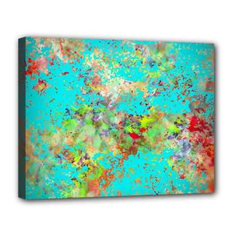 Abstract Garden In Aqua Canvas 14  X 11  by theunrulyartist
