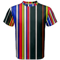 Hot Stripes Red Blue Men s Cotton Tees by ImpressiveMoments