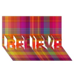 Plaid, Hot Believe 3d Greeting Card (8x4)  by ImpressiveMoments