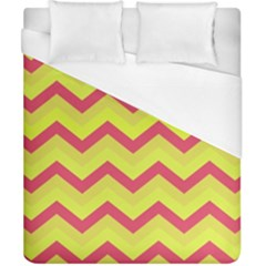 Chevron Yellow Pink Duvet Cover Single Side (double Size) by ImpressiveMoments
