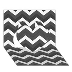 Chevron Dark Gray Heart 3d Greeting Card (7x5)  by ImpressiveMoments