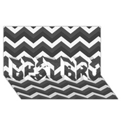 Chevron Dark Gray Best Bro 3d Greeting Card (8x4)  by ImpressiveMoments