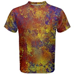 Abstract In Gold, Blue, And Red Men s Cotton Tees by theunrulyartist
