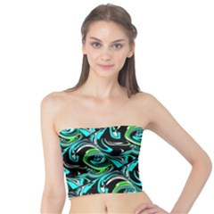 Bright Aqua, Black, and Green Design Women s Tube Tops by theunrulyartist