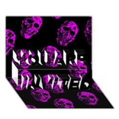 Purple Skulls  YOU ARE INVITED 3D Greeting Card (7x5)  by ImpressiveMoments