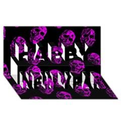 Purple Skulls  Happy New Year 3D Greeting Card (8x4)  by ImpressiveMoments