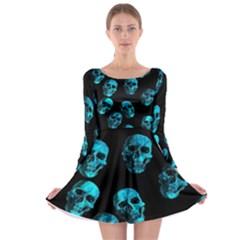 Skulls Blue Long Sleeve Skater Dress by ImpressiveMoments