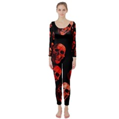 Skulls Red Long Sleeve Catsuit by ImpressiveMoments