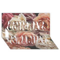 Great Garden Roses, Vintage Look  Congrats Graduate 3d Greeting Card (8x4)  by MoreColorsinLife