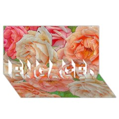 Great Garden Roses, Orange Engaged 3d Greeting Card (8x4)  by MoreColorsinLife