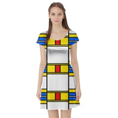 Colorful Squares And Rectangles Pattern Short Sleeve Skater Dress by LalyLauraFLM