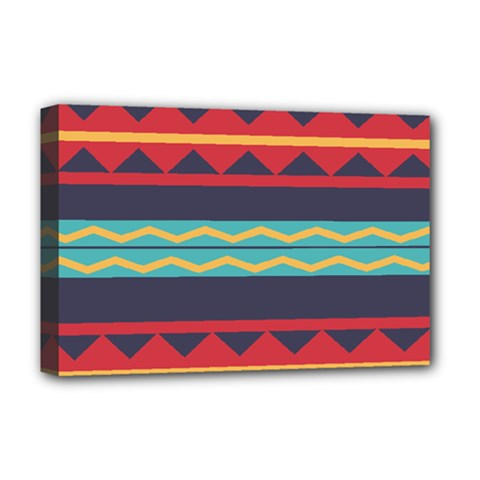 Rhombus And Waves Chains Pattern Deluxe Canvas 18  X 12  (stretched) by LalyLauraFLM