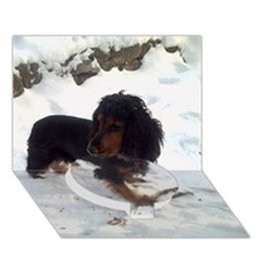 Black Tri English Cocker Spaniel In Snow Circle Bottom 3D Greeting Card (7x5)  by TailWags