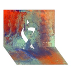 Abstract In Green, Orange, And Blue Ribbon 3d Greeting Card (7x5)