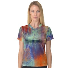 Abstract In Green, Orange, And Blue Women s V Neck Sport Mesh Tee by theunrulyartist
