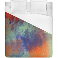 Abstract In Green, Orange, And Blue Duvet Cover Single Side (double Size) by theunrulyartist