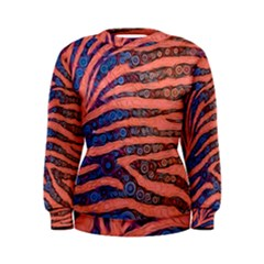 Florescent Orange Blue Zebra Abstract  Women s Sweatshirts