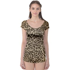 Brown Cheetah Abstract  Short Sleeve Leotard by OCDesignss