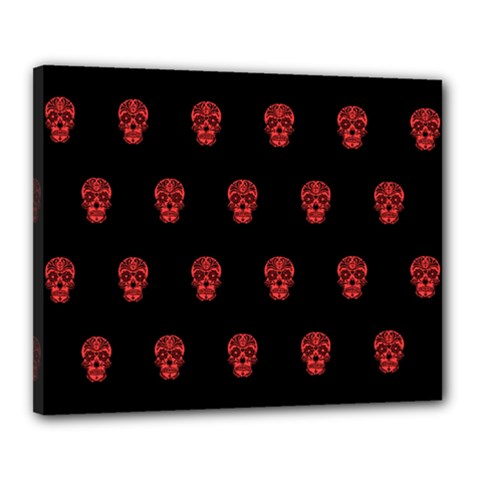 Skull Pattern Red Canvas 20  x 16  by MoreColorsinLife